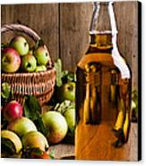 Bottled Cider With Apples Canvas Print