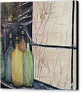 Bottles Of Wine In Cellar Canvas Print by Anais DelaVega