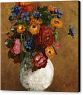 Bouquet Of Flowers In A White Vase Canvas Print by Odilon Redon