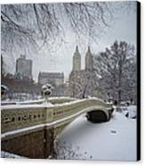Bow Bridge Central Park In Winter  Canvas Print