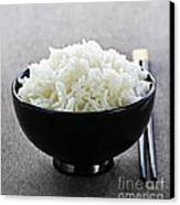 Bowl Of Rice With Chopsticks Canvas Print