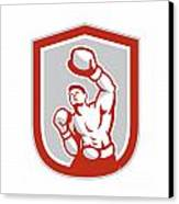 Boxer Boxing Punching Jabbing Circle Retro Canvas Print by Aloysius Patrimonio
