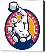 Boxer Boxing Punching Jabbing Retro Canvas Print