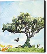 Boy On A Swing Canvas Print