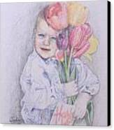 Boy With Tulips Canvas Print by Kathy Weidner