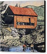Boys And Covered Bridge Canvas Print by Joseph Juvenal