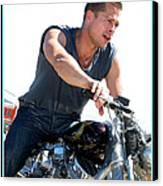 Brad Pitt On His Harley Canvas Print by Kip Krause