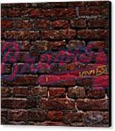 Braves Baseball Graffiti On Brick  Canvas Print