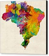 Brazil Watercolor Map Canvas Print by Michael Tompsett