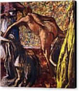 Breakfast After The Bath Le Petit Dejeuner Apres Le Bain Canvas Print by Edgar Degas