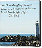 Breakwater Lighthouse Santa Cruz With Verse  Canvas Print