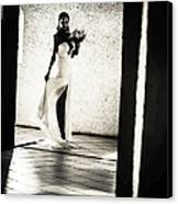 Bride. Black And White Canvas Print by Jenny Rainbow