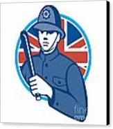 British Bobby Policeman Truncheon Flag Canvas Print