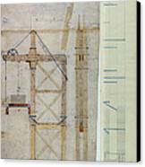 Brooklyn Bridge: Diagram Canvas Print by Granger