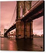 Brooklyn Bridge - Red Morning Canvas Print by Gary Heller