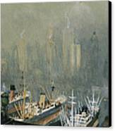 Brooklyn Harbor Circa 1921  Canvas Print by Aged Pixel