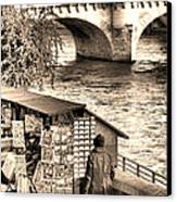 Browsing The Outdoor Bookseller  Canvas Print