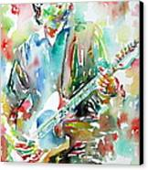 Bruce Springsteen Playing The Guitar Watercolor Portrait.3 Canvas Print by Fabrizio Cassetta