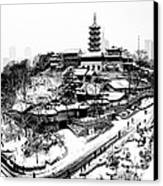 Buddha - Jiming Temple In The Snow - Black-and-white Version  Canvas Print by Dean Harte