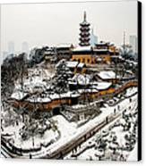 Buddha - Jiming Temple In The Snow - Colour Version  Canvas Print