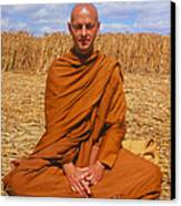 Buddhist Monk Meditating Canvas Print by David Parker and SPL