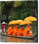 Buddhist Monks In Mekong River Canvas Print by Dung Ma