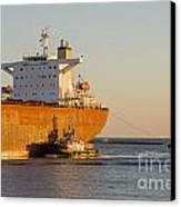 Bulk Carrier Being Guided By Tugs Close Up On Bridge Canvas Print by Colin and Linda McKie