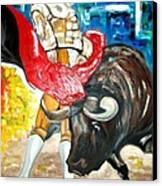 Bull Fighter Canvas Print by Andrea Vazquez-Davidson