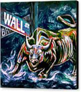 Bull Market Night Canvas Print by Teshia Art