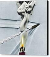 Bullet Shot Through Candle Flame Canvas Print
