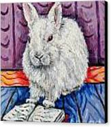 Bunny White Rabbit Reading A Book Canvas Print by Jay  Schmetz