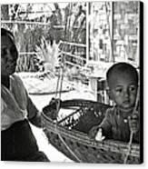 Burmese Grandmother And Grandchild Canvas Print