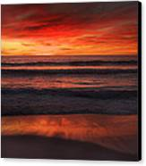Burning Red Sunset Canvas Print by Ed Pettitt