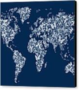 Butterflies Map Of The World Map Canvas Print by Michael Tompsett
