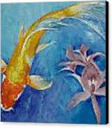 Butterfly Koi With Orchids Canvas Print by Michael Creese