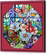 Butterfly Octagon Stained Glass Window Canvas Print by Thomas Woolworth