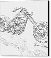 Bw Gator Motorcycle Canvas Print by Louis Ferreira