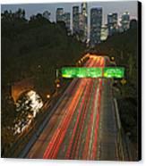 Ca 110 Pasadena Freeway Downtown Los Angeles At Night With Car Lights Streaking_2 Canvas Print