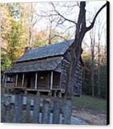 Cabin In Cade's Cove Canvas Print by Regina McLeroy