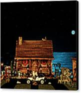 Log Cabin Near The Ocean At Midnight Canvas Print by Leslie Crotty