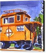 Caboose With Silver Signal Canvas Print by Kip DeVore
