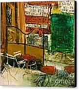 Cafe Terrace With Posters Canvas Print by Pg Reproductions