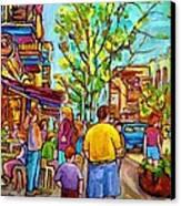 Cafes In Springtime Canvas Print