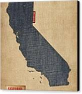 California Map Denim Jeans Style Canvas Print by Michael Tompsett