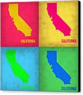 California Pop Art Map 1 Canvas Print by Naxart Studio