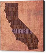 California Word Art State Map On Canvas Canvas Print