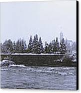 Canada Island And Spokane River Canvas Print by Daniel Hagerman