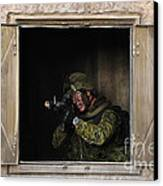 Canadian Army Soldier Conducts Military Canvas Print by Stocktrek Images