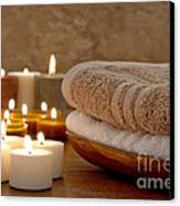 Candles And Towels In A Spa Canvas Print