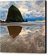 Cannon Beach With Storm Clouds In Oregon Coast Canvas Print by Jamie Pham